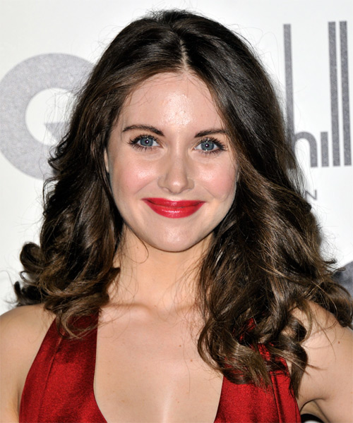 Alison Brie Long Wavy Casual   Hairstyle   - Dark Brunette