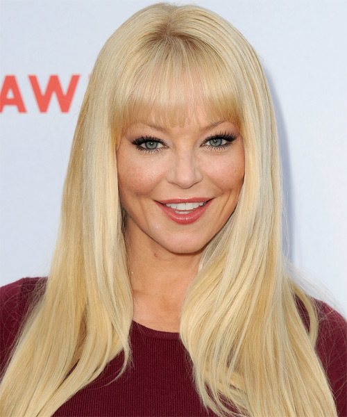 Charlotte Ross Long Straight Formal   Hairstyle with Blunt Cut Bangs  - Light Blonde