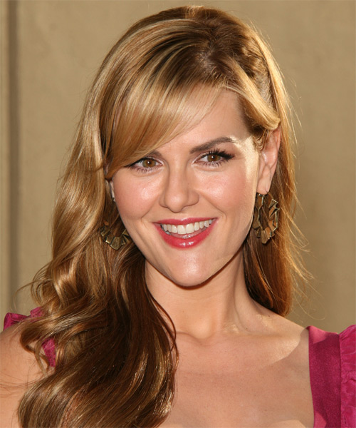 Sara Rue Long Wavy Formal    Hairstyle with Side Swept Bangs  - Light Golden Brunette Hair Color with  Blonde Highlights