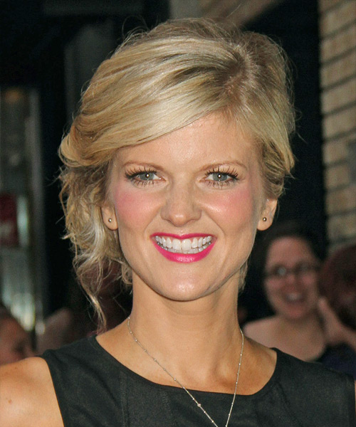 Arden Myrin  Long Curly Formal   Updo Hairstyle   -  Blonde Hair Color with Light Blonde Highlights