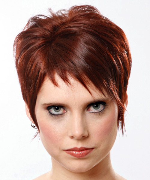Short Straight Casual    Hairstyle   - Medium Mahogany Red Hair Color