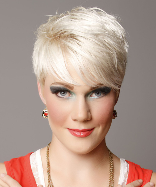 Short Straight Casual    Hairstyle with Side Swept Bangs  - Light Platinum Blonde Hair Color