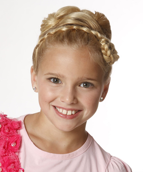 Updo Long Straight Formal Wedding Updo Hairstyle   - Light Blonde (Golden)