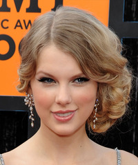 Taylor Swift  Long Curly Formal   Updo Hairstyle   -  Champagne Blonde Hair Color with Light Blonde Highlights