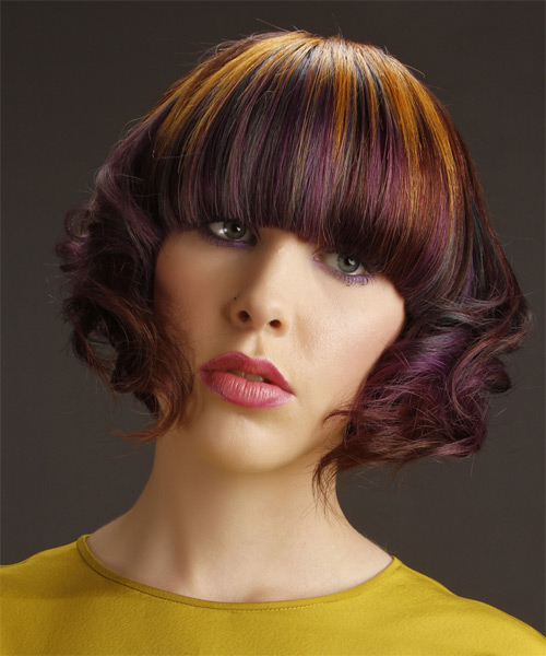 Short Wavy Alternative Emo  Hairstyle with Blunt Cut Bangs  - Purple