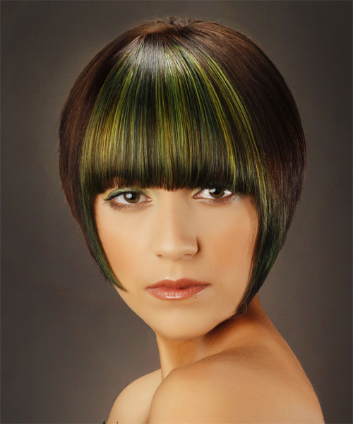 Short Straight   Dark Brunette Bob  Haircut with Blunt Cut Bangs  and Green Highlights