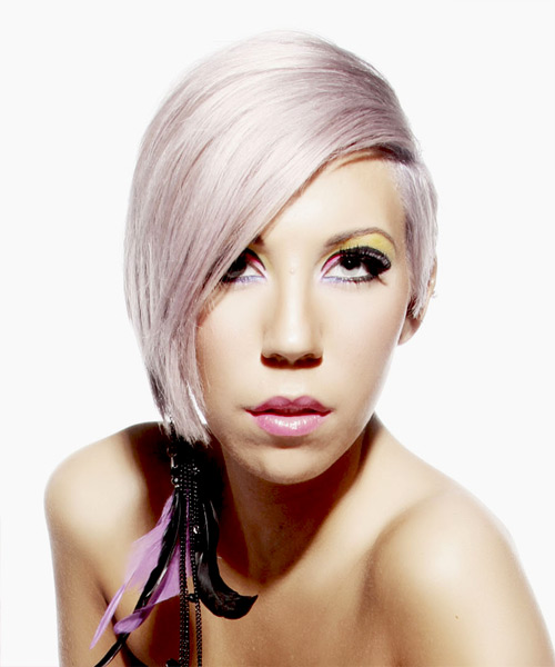 Short Straight   Light Platinum Blonde Asymmetrical  Hairstyle   with Pink Highlights
