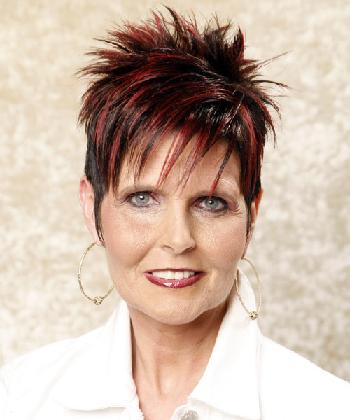 Short Straight Casual    Hairstyle with Razor Cut Bangs  - Black Burgundy  Hair Color