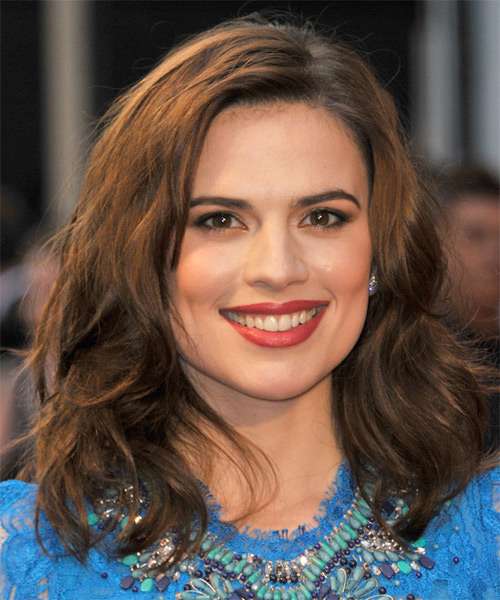 Hayley Atwell Medium Wavy Casual   Hairstyle   - Dark Brunette