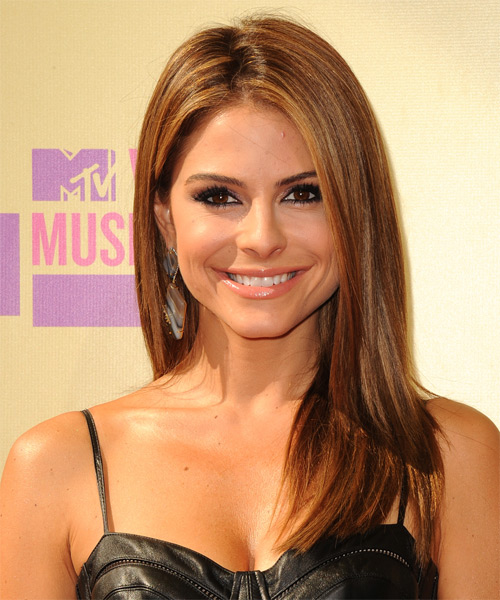 Maria Menounos Long Straight Formal    Hairstyle   - Medium Auburn Brunette Hair Color with Medium Blonde Highlights