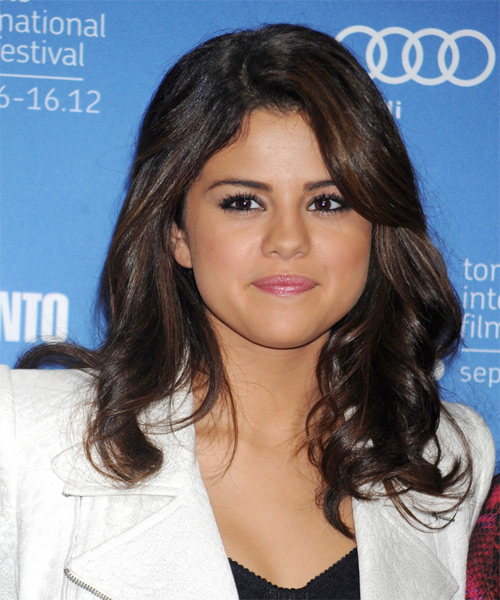 Selena Gomez Long Wavy Casual   Hairstyle   - Dark Brunette