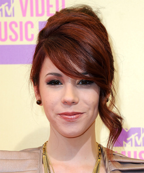 Jillian Rose Reed Updo Long Straight Formal  Updo Hairstyle with Side Swept Bangs  - Medium Red
