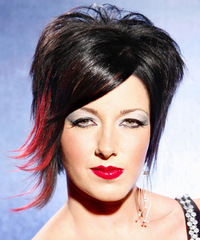 Short Straight Alternative    Hairstyle   - Black Bright  Hair Color