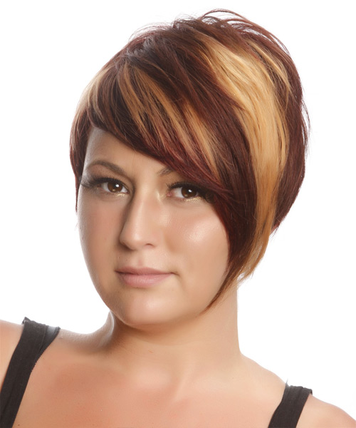 Short Straight Casual    Hairstyle   - Medium Burgundy Red Hair Color with Medium Blonde Highlights