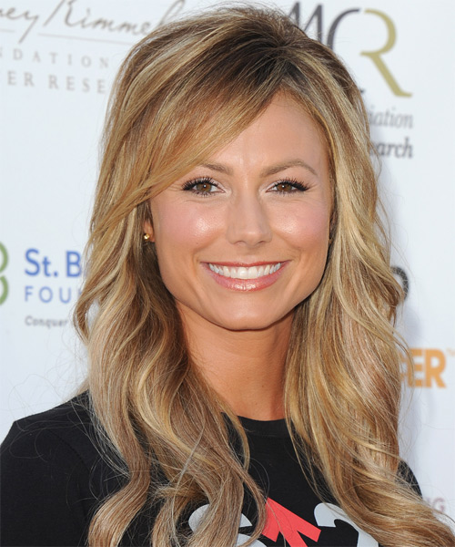 Stacy Keibler Long Wavy Casual   Hairstyle with Side Swept Bangs  - Dark Blonde (Golden)