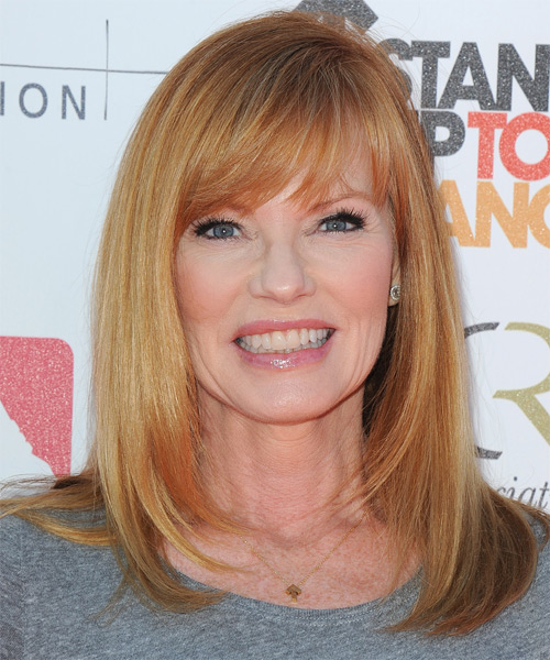 Marg Helgenberger Long Straight Formal    Hairstyle   - Dark Ginger Blonde Hair Color with  Blonde Highlights