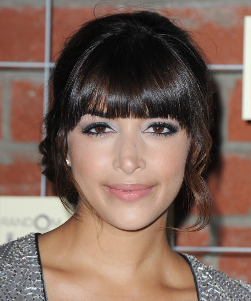Hannah Simone Updo Long Curly Formal Wedding Updo Hairstyle with Blunt Cut Bangs  - Dark Brunette