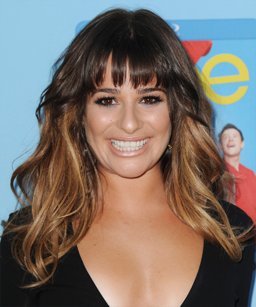 Lea Michele Long Straight Casual   Hairstyle with Layered Bangs  - Medium Brunette