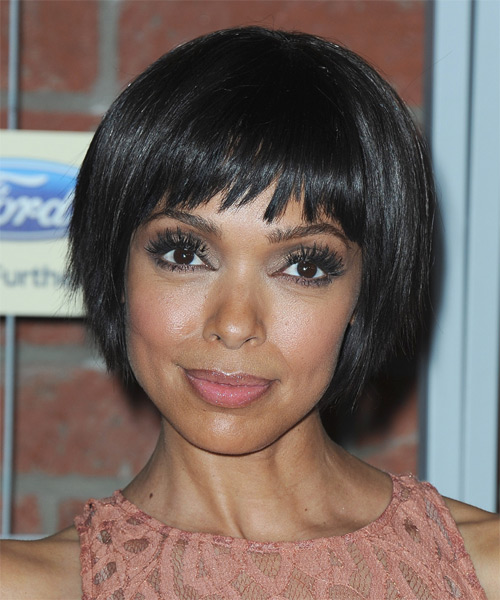 Tamara Taylor Short Straight Casual Layered Bob  Hairstyle with Razor Cut Bangs  - Black  Hair Color