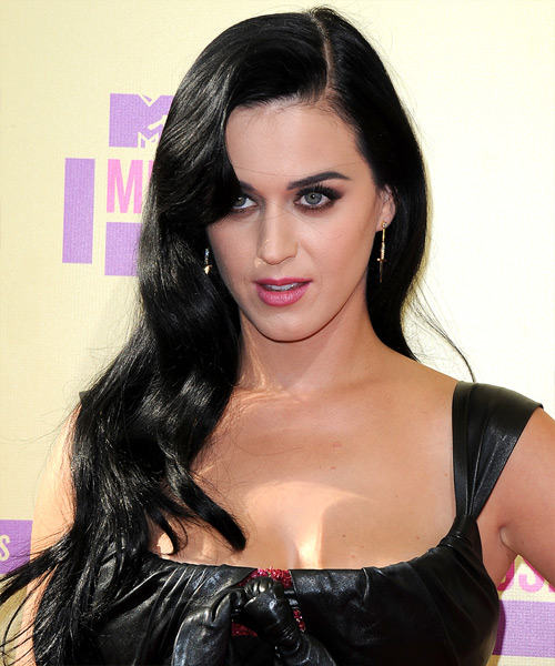 Katy Perry Long Wavy Casual   Hairstyle   - Black
