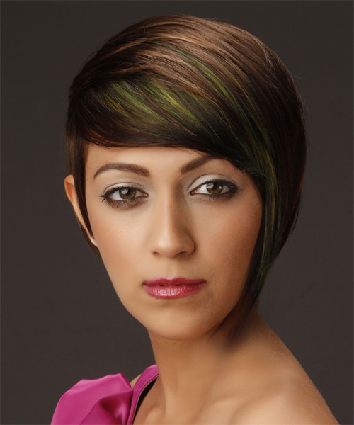 Short Straight Formal  Asymmetrical  Hairstyle with Side Swept Bangs  -  Brunette Hair Color with Green Highlights