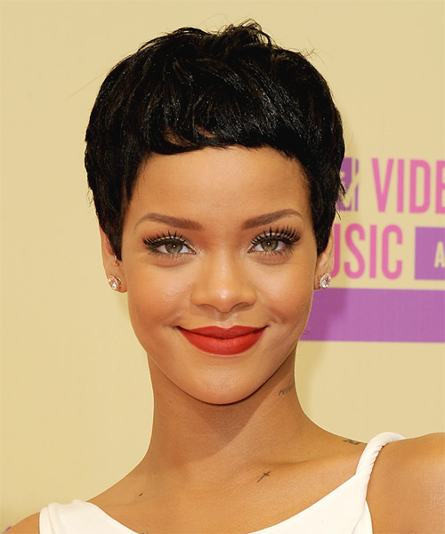 Rihanna Short Straight Casual Pixie  Hairstyle   - Black