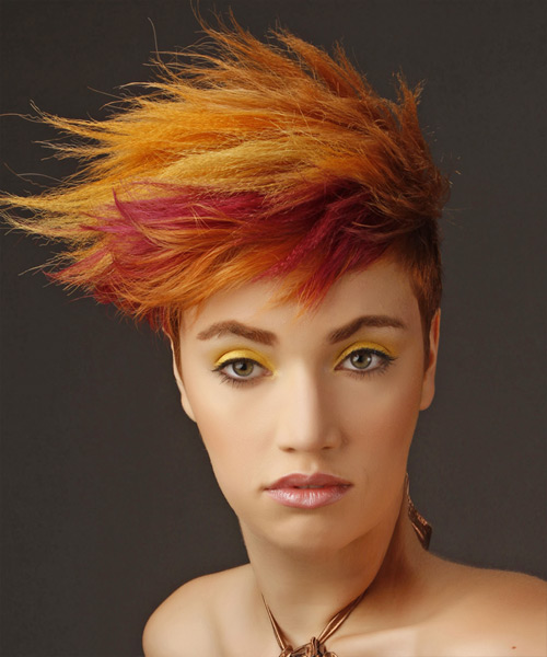 Short Wavy    Copper Red and  Red Two-Tone Emo  Hairstyle with Side Swept Bangs  and Yellow Highlights