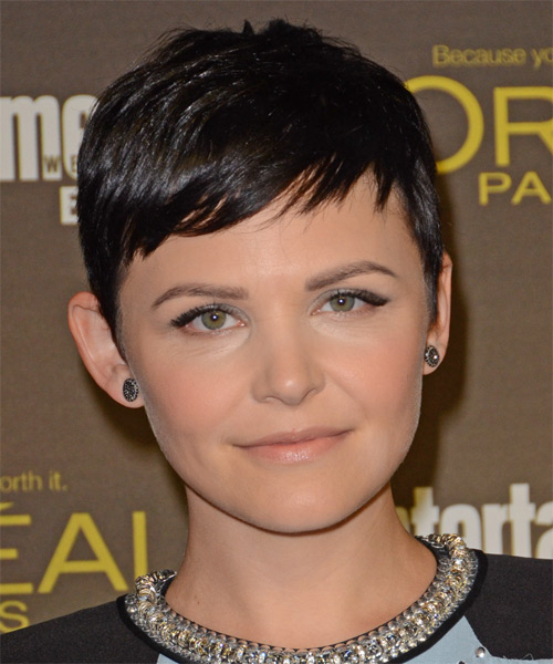 Ginnifer Goodwin Short Straight Casual   Hairstyle with Side Swept Bangs  - Dark Brunette