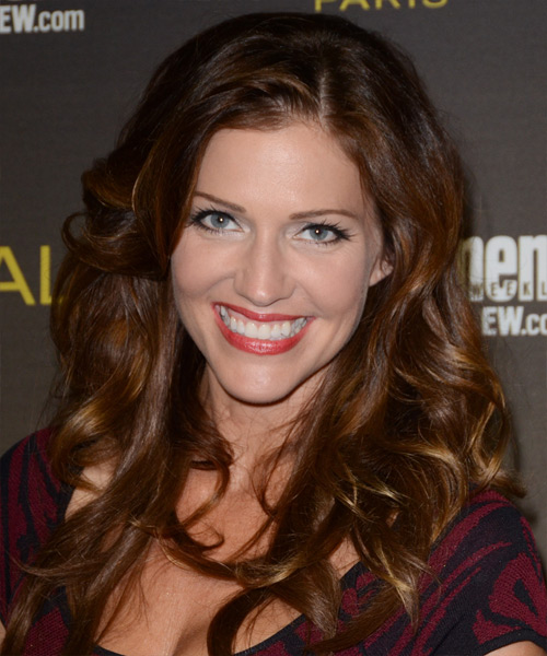 Tricia Helfer Long Wavy Casual   Hairstyle   - Dark Brunette (Auburn)