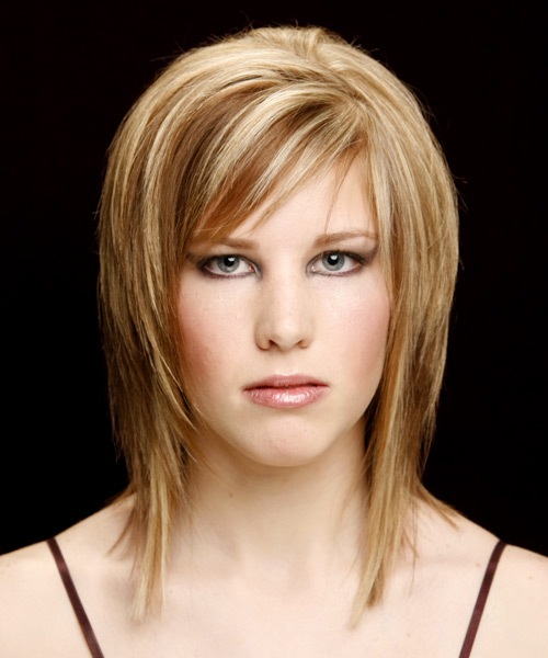 Medium Straight Casual    Hairstyle with Side Swept Bangs  -  Copper Blonde Hair Color with Light Blonde Highlights