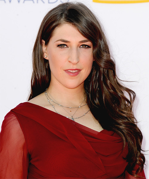 Mayim Bialik Long Wavy Casual    Hairstyle   - Dark Brunette Hair Color