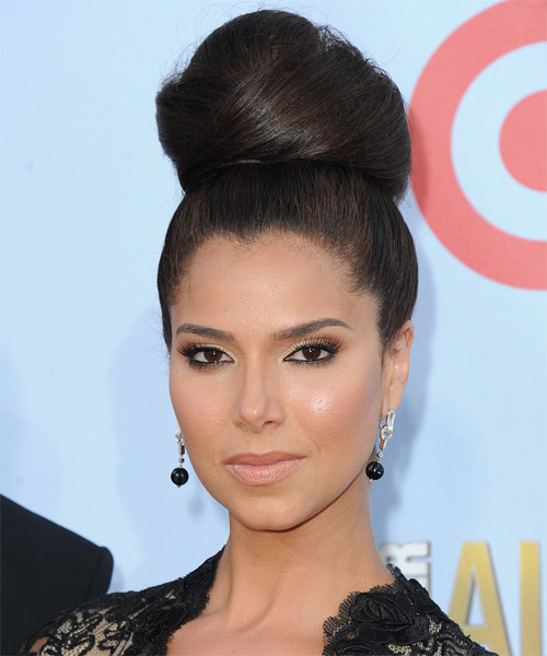 Roselyn Sanchez Straight Updo Hairstyle with Top Knot