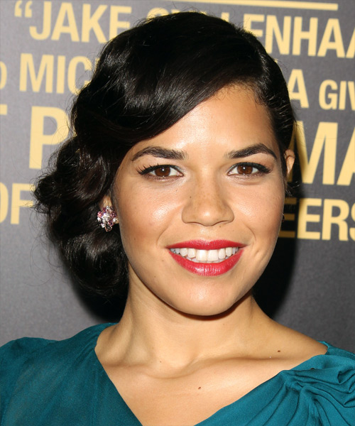 America Ferrera Updo Long Curly Formal Wedding Updo Hairstyle   - Black