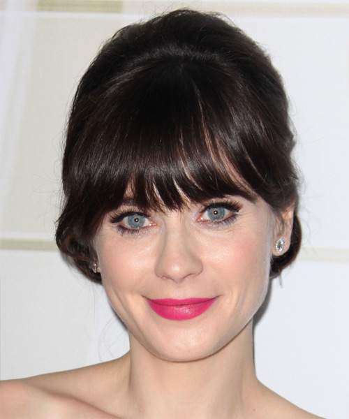 Zooey Deschanel Long Straight Dark chocolate brown Updo with Blunt Cut Bangs -  Hair Color suitable for Cool Skin Tones
