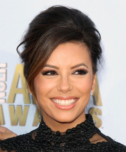 Eva Longoria Updo Long Straight Formal Wedding Updo Hairstyle with Side Swept Bangs  - Dark Brunette