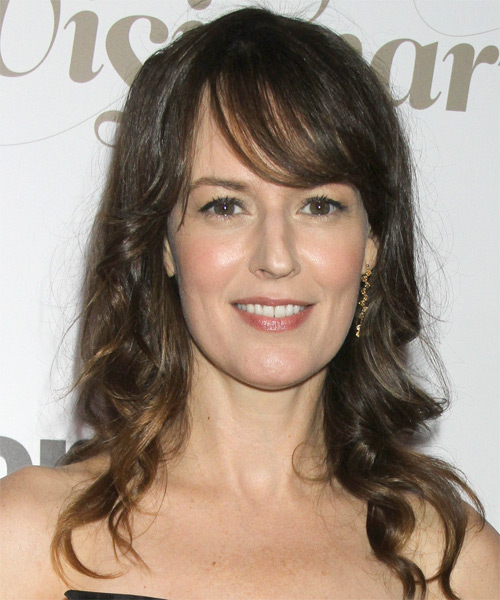 Rosemarie DeWitt Long Wavy Casual   Hairstyle with Side Swept Bangs  - Dark Brunette
