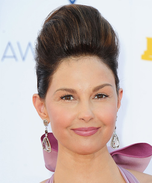 Ashley Judd Updo Long Straight Formal Wedding Updo Hairstyle   - Dark Brunette