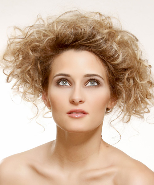 Medium Curly Casual   Updo Hairstyle   - Dark Golden Blonde Hair Color with Light Blonde Highlights