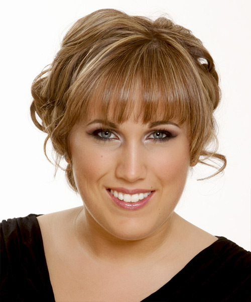 Long Straight Formal   Updo Hairstyle with Blunt Cut Bangs  -  Caramel Brunette Hair Color with  Blonde Highlights