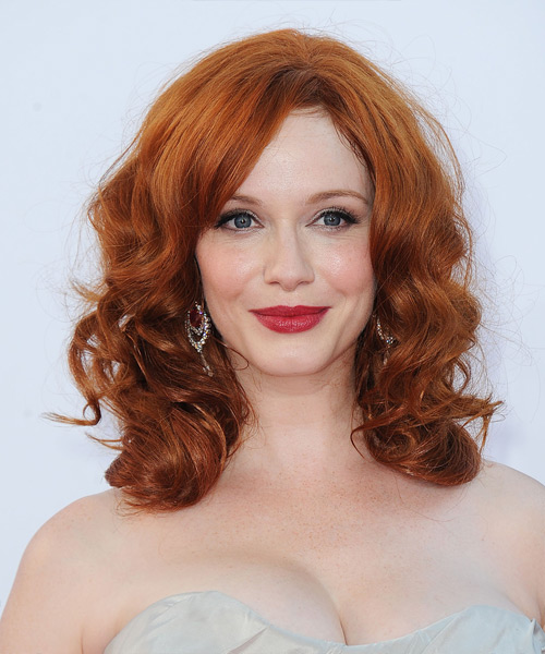 Christina Hendricks Medium Wavy Casual   Hairstyle   (Ginger)