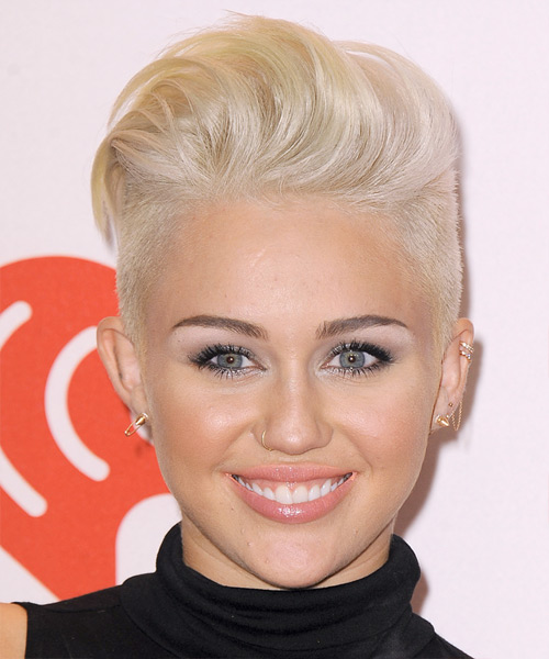 Miley Cyrus Short Straight Alternative    Hairstyle   - Light Platinum Blonde Hair Color