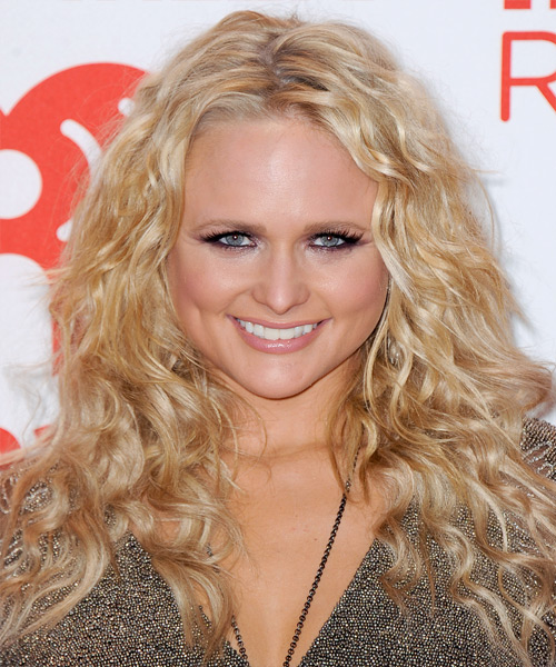 Miranda Lambert Long Curly Casual    Hairstyle   -  Golden Blonde Hair Color with Light Blonde Highlights