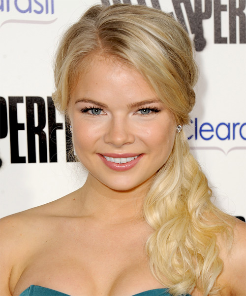 Kelli Goss Half Up Long Curly Formal  Half Up Hairstyle   - Light Blonde (Golden)