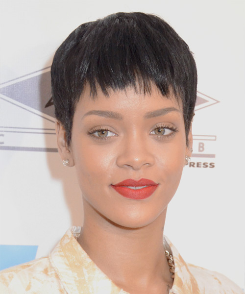 Rihanna Short Straight Casual Pixie  Hairstyle with Layered Bangs  - Dark Brunette