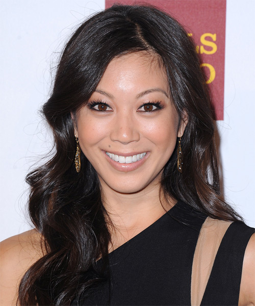 Brittany Ishibashi Long Wavy Casual   Hairstyle   - Dark Brunette