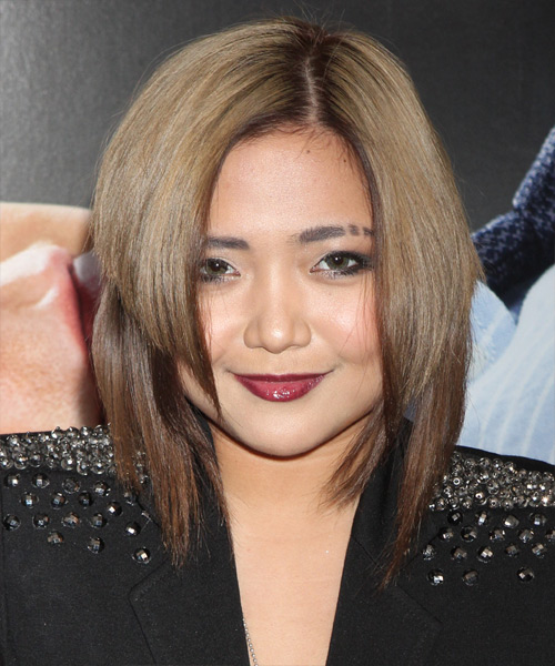 Charice Medium Straight Alternative    Hairstyle   - Light Brunette and Dark Brunette Two-Tone Hair Color