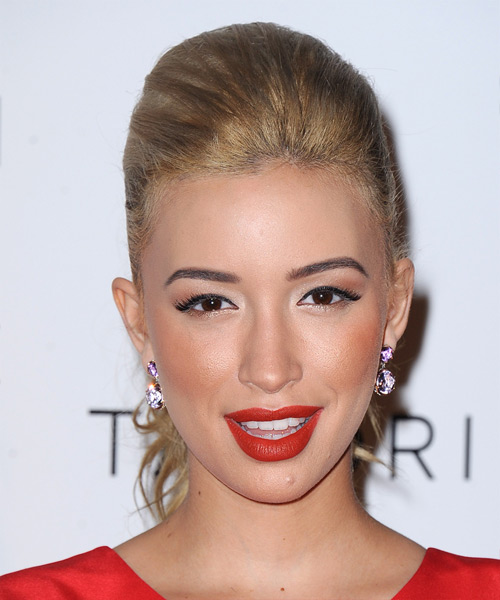Christian Serratos  Long Straight Casual   Updo Hairstyle   - Dark Blonde Hair Color