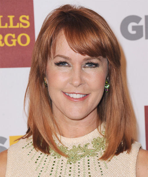 Erin Murphy Medium Straight Casual   Hairstyle with Side Swept Bangs  - Medium Red (Copper)