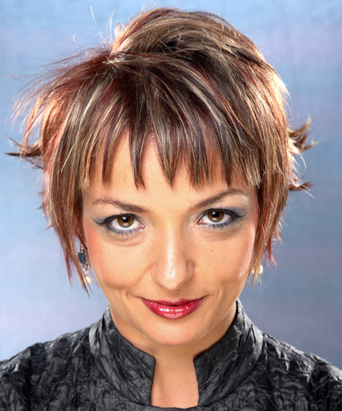 Short Straight Casual   Hairstyle with Layered Bangs  - Medium Brunette