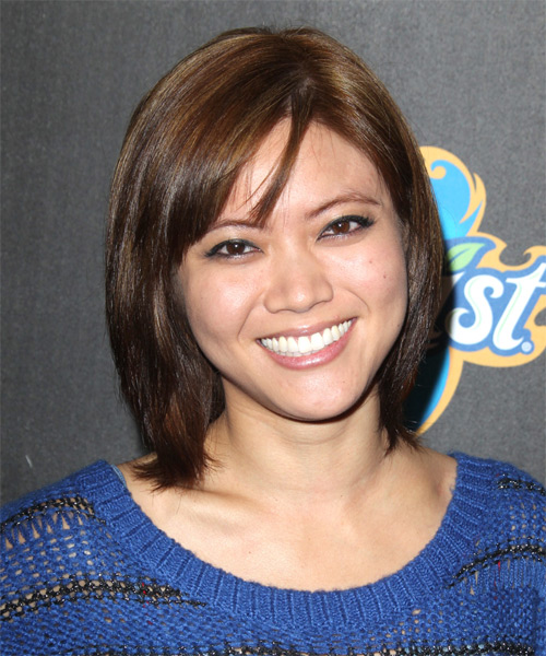 Jessica Lu Medium Straight    Mocha Brunette Bob  Haircut with Side Swept Bangs